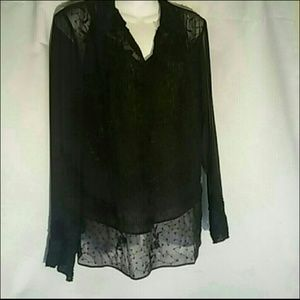 Worthington Sheer Vintage-styled Beaded Blouse, 14